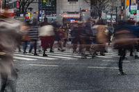 Hustle and bustle of Shibuya scramble intersection