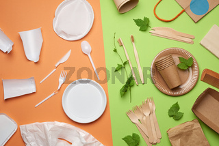 non-degradable plastic waste from disposable tableware and a set of dishes from environmental recycled materials on a green background