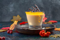 Homemade pumpkin panna cotta with orange jelly.