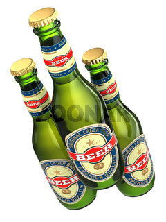 Three beer bottles with labels isolated on white.
