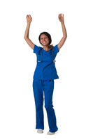 Nurse in uniform with arms raised