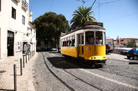 yellow tram in old town of Portugal