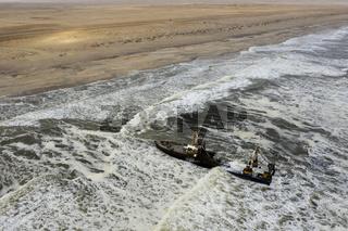 Schiffswrack Zeila an der Skelettkueste, Namibia