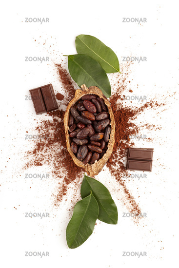 Cocoa powder, beans and chocolate on white background from above.