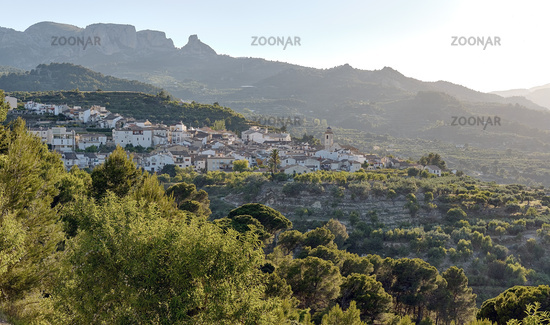 View to Valencian town of Benimantell, Spain