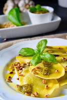 Vegetariano italiano! Tortelli with roasted pine nuts and pesto basilico