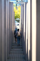 Visitors at the Holocaust Memorial in the centre of Berlin