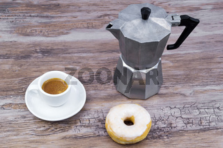 Breakfast with donut and coffee
