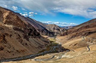 Manali Leh road near Tanglang la Pass in Himalayas