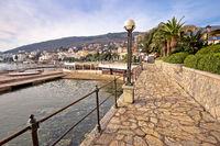 Opatija. Lungomare seafront walkway in Opatija Riviera view