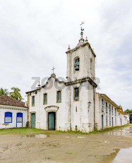 Famous white church facade in the ancient and historic city of Paraty