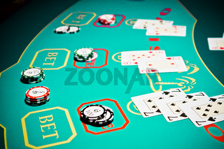Playing cards game in casino, gambling ad