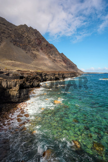 Lava coast in El Hierro island, Canary Islands, Spain. El Golfo, biosphere reserve.