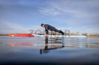 push ups on stand up paddleboard