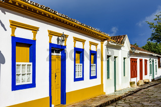 Streets of the old and historic city of Tiradentes with afternoon lights