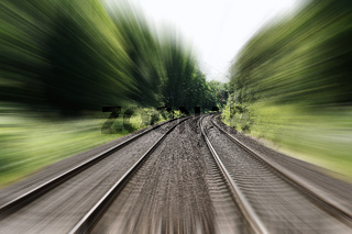 double-track railroad railway or train tracks speed motion blur