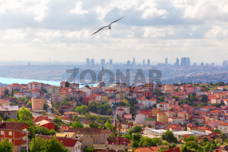 Asian side of Istanbul and the skyscrappers in the background, Turkey