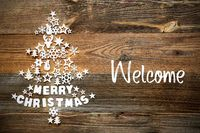Christmas Tree, White Decoration, Ornament, Text Welcome