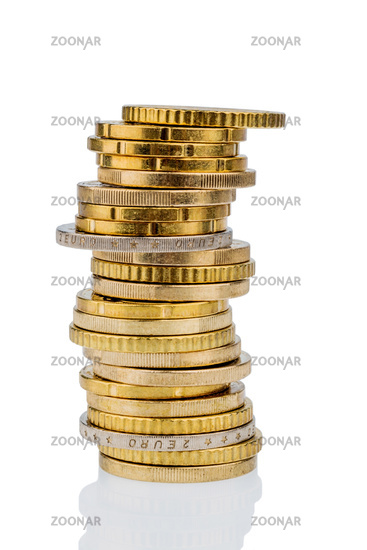 Stack of coins against a white background