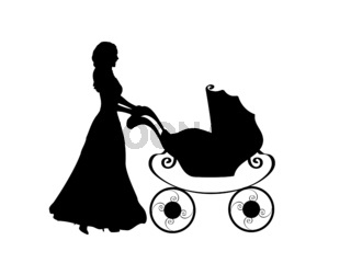 Silhouette mother pushing baby stroller