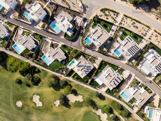 Aerial photo of golf fields. Costa Blanca, Spain