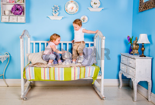 Children on the bed