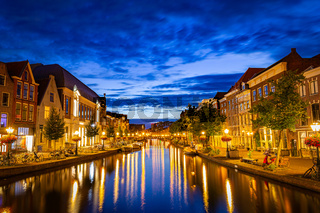 Cityscape Leiden by night