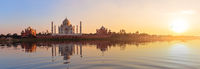 Taj Mahal sunset panorama, view from the Yamuna river, Agra, India