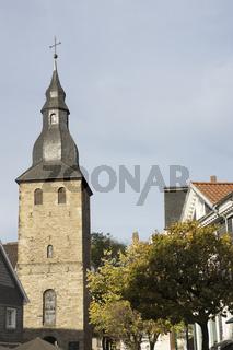 Glockenturm der Johanniskirche in Hattingen, NRW, Deutschland