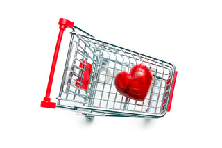 stone heart in shopping cart