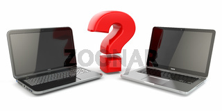 Choosing a laptop. Question sign and laptops.
