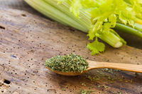 Dried green celery in a wooden spoon and fresh celery on a wooden table