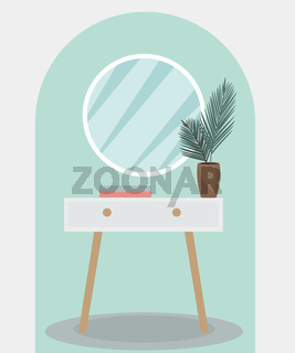 Round mirror on a vintage pedestal table in the bedroom. Modern trendy interior design. Plant in the room, retro furniture. Vector illustration