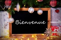 Chalkboard, Tree, Gift, Fairy Lights, Bienvenue Means Welcome