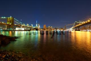 Manhattan skyline view at night from Brooklyn