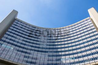 Details of United Nations Organization Building (UNO), ger. Vereinte Nationen in Danube City, Vienna, Austria, Europe