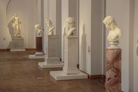 Moscow, Russia. September 29, 2020: Ancient statue heads. Plaster sculpture mans faces. Sculpture Collection, Hellenistic period, Moscow Caricino Museum