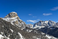 Winter landscape in the Dolomites near Covara, Alta Badia, Dolomites, South Tyrol,Italy