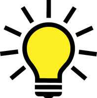 simple glowing light bulb symbol or icon