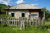 abandoned old house in russian village ruin
