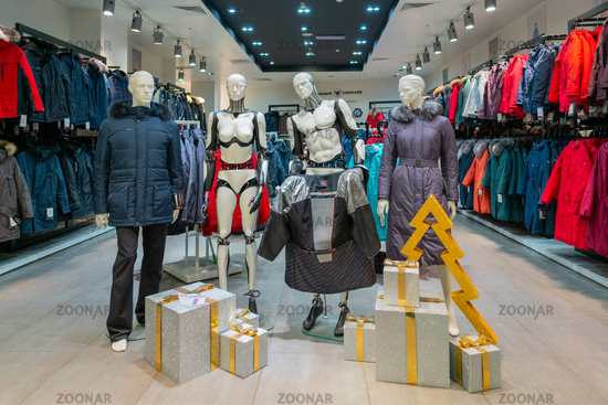 MOSCOW. RUSSIA. January 11, 2020. A mannequin in sportswear. Showcase store youth clothing.