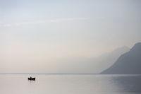 Lone Boat in the Lake Garda