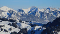 Winter landscape seen from Horneggli, Switzerland.