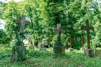 Old crosses on an ancient german graveyard
