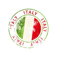 Italy sign, vintage grunge imprint with flag on white