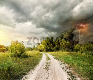 Country road and thunderstorm