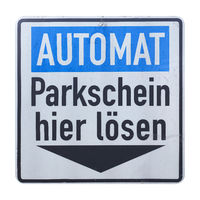 German sign isolated over white. Pay parking ticket here