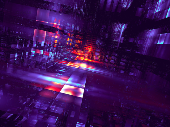 Red and purple street - 3d illustration with perspective effect