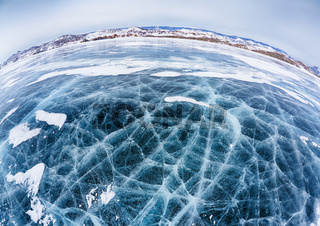 Baikal ice in winter