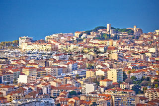 French riviera. Town of Cannes. Panoramic view of Cannes cityscape and seafront from hill
